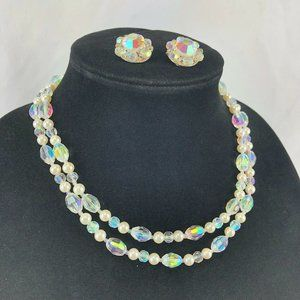 Vintage Double Strand Iridescent Necklace Set